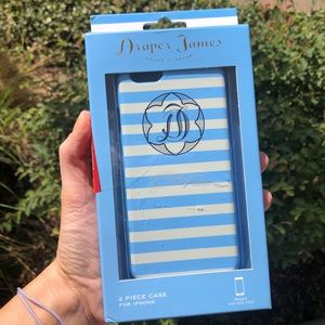 NWT Draper James blue and white striped case